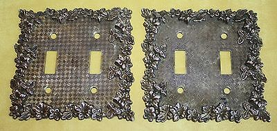 Vtg 1968 American Tack & Hardware Brass Double Light Switch Plates Set of 2 75TT