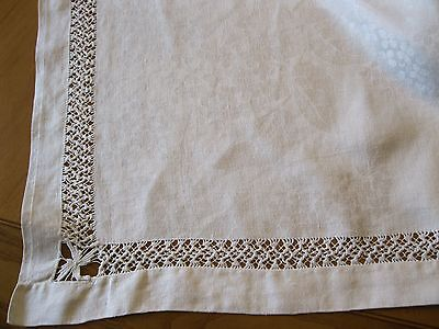 Antique Italian Linen 103x70 Damask Tablecloth Punto Antico Embroidery Lace