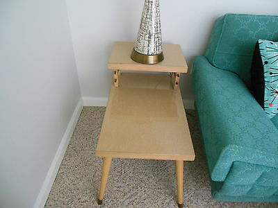 Vintage 1950's Matching Pair Blonde Two Tier End Tables