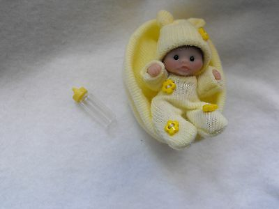 OOAK handmade sculpt art  miniature 5.cm poseable clay 1/12 baby doll  Carol