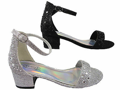 Girls spot on  Low Block Heel Shoes Diamante Party Silver Black Bling Bridesmaid