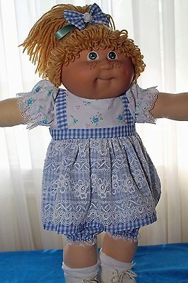 Cabbage Patch Doll Cloths- White and Blue Gingham dress, bloomers, 2 hair bows