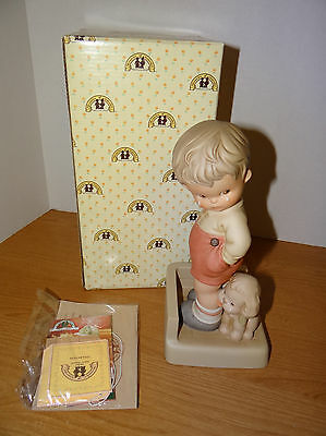 Memories Of Yesterday THANK GOD FOR FIDO Porcelain Figurine Boy and Dog 9 Inch