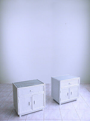 2 door FAUX BAMBOO henry link style WICKER & GLASS shabby end tables nightstands