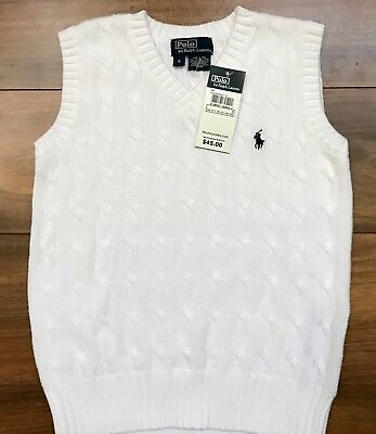 POLO RALPH LAUREN Sweater Vest White Cable Knit YOUTH BOY Size 6 NEW WITH TAGS