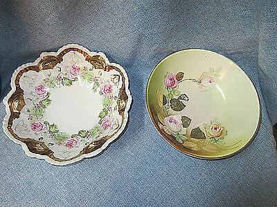 2 PC Antique Vintage LG BOWLS IMPERIAL VIENNA AUSTRIA & 3 CROWN CHINA GERMANY