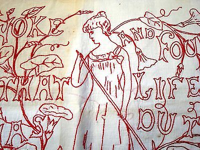 Vtg Early 1900's Redwork Pillow case embroidered Work Found that life was duty