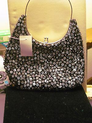 Black and Silver  Beaded Evening Bag, NWT, Free Shipping