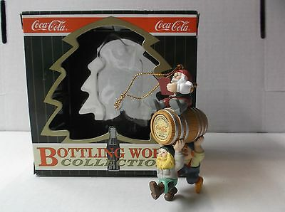 Coca-Cola Bottling Works Collection Ornament Elves With Barrel W/box 1996