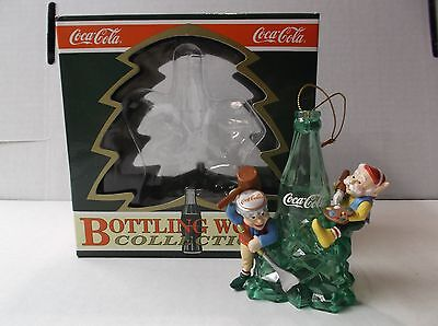 "Coca-Cola Bottling Works Collection Elf Ornament ""ice Sculpting"" W/ Box 1992"