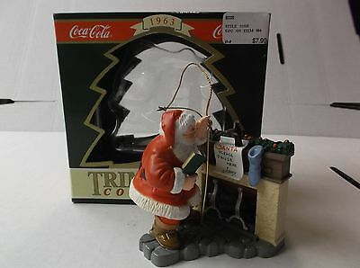 Coca-Cola Trim A Tree Collection Ornament 1963 Santa At The Fireplace W/box