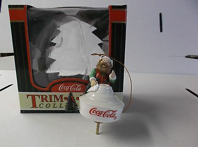 Coca-Cola Trim A Tree Collection Ornament Elf On A Lamp Shade With Box 1998
