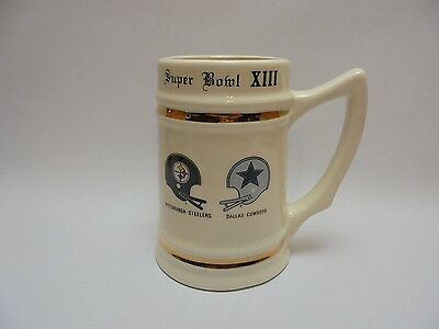1979 NFL Super Bowl XIII Dallas COWBOYS Pittsburgh STEELERS Beer Stein ORANGE