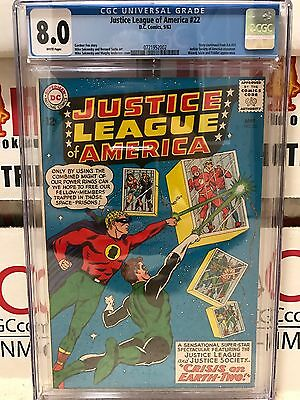 "Justice League of America #22 CGC 8.0; WHITE pages; JSA; ""Crisis on Earth-Two!"""