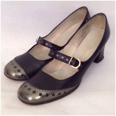 Vintage 60s Black With Silver Wingtip Style Mary Jane Heel Shoes Buckle Toe 7N