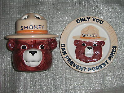 Smokey the Bear Ceramic Soap Dish and Toothbrush Holder Set of 2 Vintage Figural