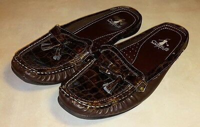 Corky's Eddie Brown Shoes Size 8 Faux Animal Skin Slip On Mules Dressy Casual