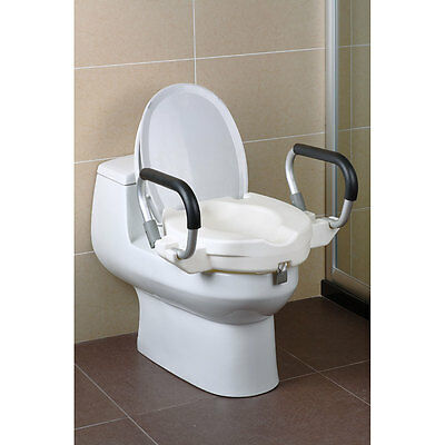 Raised Toilet Seat With Arms Lid Bathroom Safety Rail Frame Mobility Support