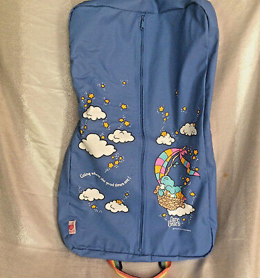 Vtg Care Bears Travel Bag Blue Garment Rainbow Clouds Going Good Times 18x28