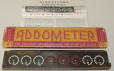 Vintage Addometer Portable Adding Machine For Home & Office Directions & Box
