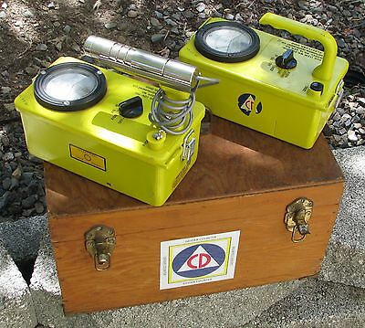Civil Defense Shelter Radiation kit in wooden box - true Geiger Counter