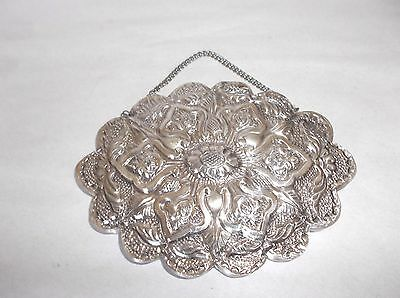 "Turkish Repousse 900 Coin Silver Wedding or Dowry Mirror, 5.5"" x 4.25"", w/Chain"