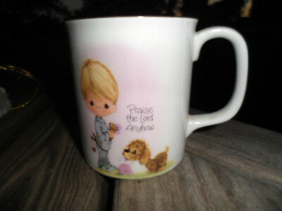 1984 Precious Moments - Porcelain Coffee Cup Mug - Praise The Lord Anyhow