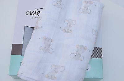 aden anais muslin swaddles blanket Safari babes 44'' x 44'' white elephant new