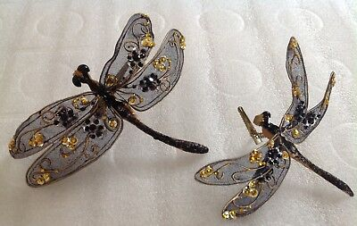 Lot 2 ~Clip-On DRAGONFLY Ornament Insect Bug Beaded Glitter Craft & Flower Decor
