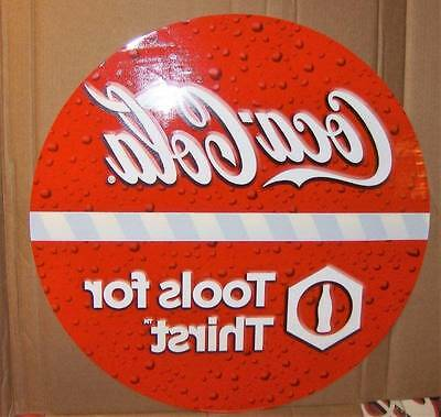 "Coca Cola Tools For Thirst Perma-Cling Sign 30""x30"" Huge !"
