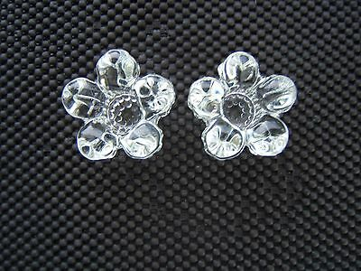Vintage Pair 5 Petal Crystal Small Candlestick Holders Hobnail On Bottoms