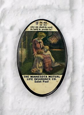 Antique Celluloid Advertising Pocket Mirror  The Minnesota Mutual Life Insurance