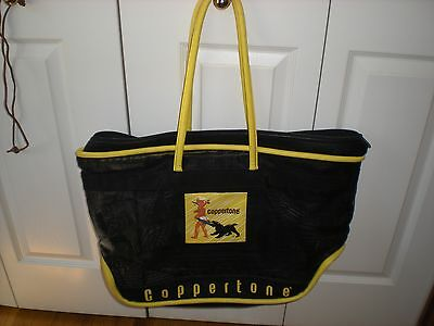 Coppertone Collectable Black & Yellow Mesh/Vinyl Large Beach Tote Bag w/ Zipper