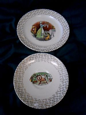 Taylor Smith Taylor TST Early American Home Scene Salad Plate & Saucer Gold