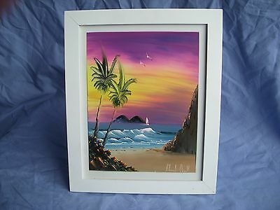 "Hawaiian Scene on Framed tile, Art, 9 3/4"" x 7 3/4"", Signed"