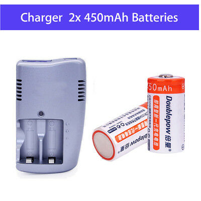 2X 1300mAh 3V CR123A Rechargeable Lithium Battery +Dual Charger Fr IR Monocular