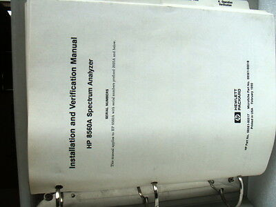Agilent / HP 8560A Installation & Verification Manual - P/N 08561-90017