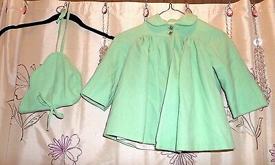 Girls' Mint Green Wool Vintage Flared Loose-Fitting Coat W/matching Hat, Sz 3-4