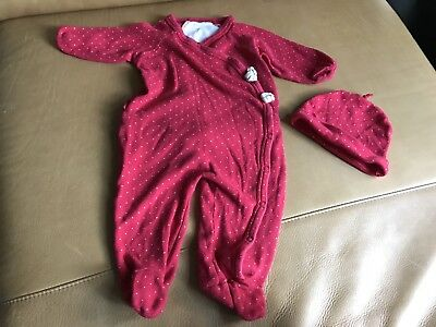 Burt's Bees footed sleeper with snap closure and butt ruffles 3-6 Mo