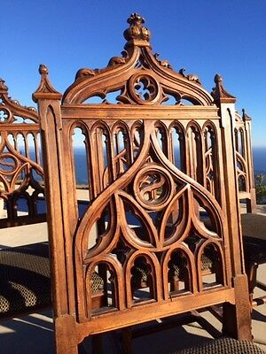 c. 1890 Antique Carved Gothic Italian Dining Set With Ornate Chairs