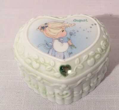 Precious Moments Heart Shaped August Birthstone Keepsake Trinket Box 2001