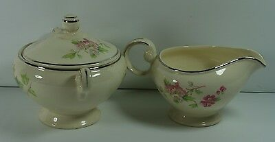 Taylor Smith Taylor Creamer and Sugar Bowl Ivory Gold Trim Pink White Wild Roses