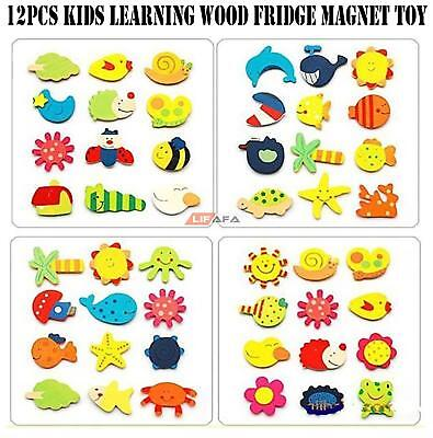 12pcs Kids Learning Wood Cartoon Fridge Magnet Child Educational Toy | LiFaFa