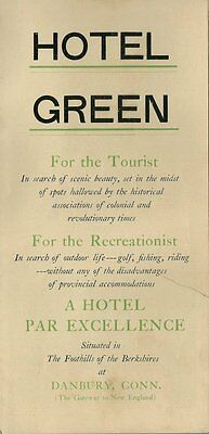 1920's Tourist Brochure - The Hotel Green - Danbury CT - Nice Condition