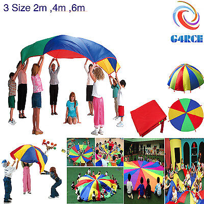 Kids Play Rainbow 2/4/6 Meter Parachute Outdoor Game Exercise Sport Family Fun