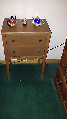 vintage sewing cabinet side table with spool holder