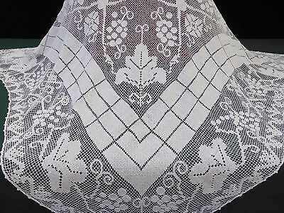 """Antique Italian Knotted Filet Lace Tablecloth-Grapevine-47"""""""
