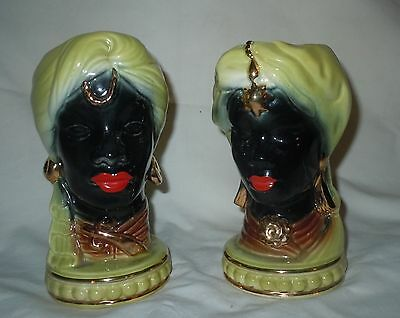 Vtg MATCHED PAIR  Black Lady Head Vase Turban Gold Jewelry African