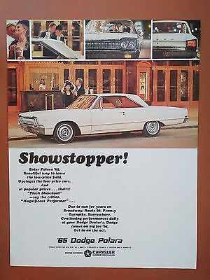 1965 Dodge Polara White Coupe Car Auto Vintage photo print ad