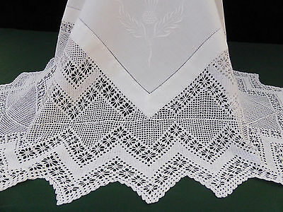 Antique Cotton Tablecloth-Embroidered Scotch Thistle-Deep Hand Crochet-53""